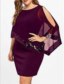 preiswerte Kleider in Übergröße-Damen Übergrössen Grundlegend Lose T Shirt Kleid - Pailletten Patchwork, Solide Übers Knie
