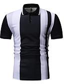 preiswerte Herren Polo Shirts-Herrn Gestreift Baumwolle Polo, Hemdkragen Schwarz XL