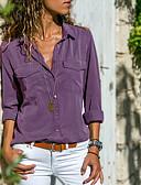 hesapli Gömlek-Kadın's Pamuklu Gömlek Yaka Gömlek Kırk Yama, Solid Sokak Şıklığı Gri