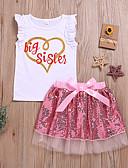 זול סטים של ביגוד לתינוקות-סט של בגדים שרוולים קצרים פאייטים / פפיון / רשת דפוס פעיל / בסיסי בנות תִינוֹק / פעוטות