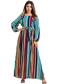 cheap Arabian Clothing-Women's Basic Shift Sheath Dress - Striped Blue XXL XXXL XXXXL