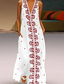 cheap Maxi Dresses-Women's Basic A Line Sundress - Floral Print White Black L XL XXL