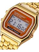 baratos Relógios de Casal-Casal Relogio digital Digital Aço Inoxidável Prata / Dourada Luz LED Relógio Casual Digital Vintage Fashion - Dourado Prata Um ano Ciclo de Vida da Bateria