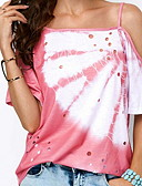 cheap Women's T-shirts-2019 New Arrival T-shirts Women's Slim T-shirt - Floral Beaded / Floral Style / Fashion Camisas Mujer Chemise Femme Strap Blushing Pink XL / Spring / Summer / Fall / Winter