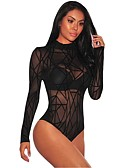 זול חליפת גוף-S M L אחיד, Rompers רזה ישר שחור בגדי ריקוד נשים