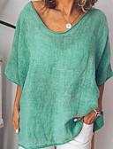 cheap Panties-Women's Plus Size Loose T-shirt - Solid Colored V Neck Light Green XXXL
