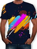 hesapli Erkek Tişörtleri ve Atletleri-Erkek Yuvarlak Yaka Tişört Desen, Çizgili / Zıt Renkli / 3D Siyah