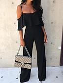 hesapli Kadın Tulumları-Kadın's Temel Askılı Beyaz Siyah YAKUT Geniş Bacak Tulumlar, Solid Fırfırlı M L XL