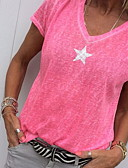 זול חולצה-אחיד / גראפי צווארון V משוחרר מידות גדולות חולצה - בגדי ריקוד נשים