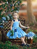preiswerte Kleider für Mädchen-Baby Mädchen Süß Boho Solide Blumen Spitze mit Schnürung Ärmellos Übers Knie Baumwolle Polyester Kleid Leicht Blau