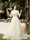 ราคาถูก ชุดแต่งงาน-A-line ตักคอ ชายกระโปรงชาเปิล ลูกไม้ / Tulle ชุดแต่งงานที่ทำขึ้นเพื่อวัด กับ ของประดับด้วยลูกปัด / เข็มกลัด โดย LAN TING BRIDE®