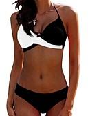 halpa Bikinis-Naisten Perus Musta Rubiini Keltainen Kolmia Pikkutuhmat Tankini Uima-asut - Color Block XL XXL XXXL Musta