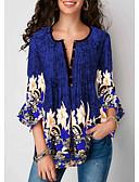 levne Košile-Dámské - Květinový Tričko, Patchwork Bavlna Do V Černá XXXL