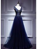 זול שמלות ערב-גזרת A צלילה עד הריצפה טול גב יפהפייה ערב רישמי שמלה עם אפליקציות על ידי LAN TING Express