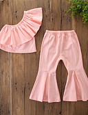 billige T-shirts og undertrøjer til herrer-Børn / Baby Pige Aktiv / Basale Ensfarvet Drapering Uden ærmer Normal Bomuld / Spandex Tøjsæt Rød