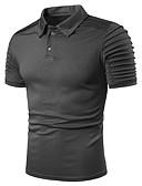 baratos Pólos Masculinas-Homens Tamanho Europeu / Americano Polo Básico Pregueado, Sólido Algodão Colarinho de Camisa Azul Marinha / Manga Curta