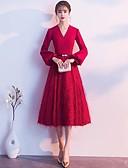 cheap Cocktail Dresses-A-Line V Neck Tea Length Stretch Satin Dress with Sash / Ribbon by LAN TING Express