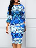 abordables Robes de Travail-Femme Grandes Tailles Basique Mi-long Gaine Robe Géométrique Bleu XXXL XXXXL XXXXXL Manches 3/4