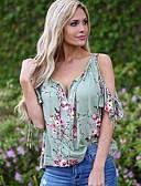 abordables Camisetas para Mujer-Mujer Volante / Floral Camiseta, Escote en Pico Delgado Floral Azul Piscina XL / Primavera / Verano / Otoño