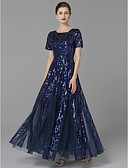 cheap Mother of the Bride Dresses-A-Line Jewel Neck Floor Length Tulle Mother of the Bride Dress with Pattern / Print by LAN TING BRIDE® / Sparkle & Shine