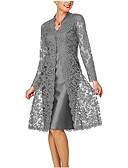 hesapli Gömlek-Kadın's Anne için Dantelalar İki Parça Elbise - Solid, Dantel V Yaka Diz-boyu