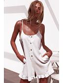 cheap Women's Jumpsuits & Rompers-Women's White Romper, Solid Colored M L XL Cotton