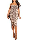 hesapli Vintage Kraliçesi-Kadın's İnce Bandaj Elbise Askılı Diz-boyu