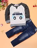 זול לבנים סטים של ביגוד לתינוקות-סט של בגדים כותנה שרוול ארוך דפוס דפוס בסיסי בנים תִינוֹק / פעוטות