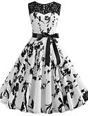 hesapli Print Dresses-Kadın's Vintage A Şekilli Elbise Desen Diz-boyu
