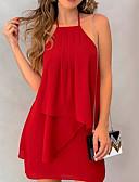 hesapli Mini Elbiseler-Kadın's Temel A Şekilli Elbise - Solid, Fırfırlı Şifon Boyundan Bağlamalı Diz üstü