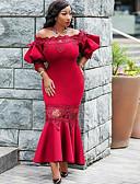 ieftine Rochii Plus Size-rochie lungă pentru genunchi pentru femei roșu roșu negru l xl xxl