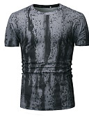 levne Pánské košile-Pánské - Barevné bloky Tričko Kulatý Bílá L
