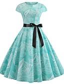 hesapli Romantik Dantel-Kadın's Temel Boho A Şekilli Çan Elbise - Zıt Renkli, Dantel Kırk Yama Desen Diz-boyu