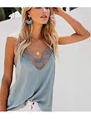 abordables Blusas para Mujer-Mujer Retazos Tank Tops Un Color Blanco M