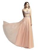 preiswerte Abendkleider-A-Linie Trägerlos Boden-Länge Tüll Kleid mit Kristall Verzierung durch JUDY&JULIA