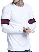 hesapli Erkek Tişörtleri ve Atletleri-Erkek Pamuklu Yuvarlak Yaka Tişört Solid / Çizgili AB / ABD Beden Beyaz