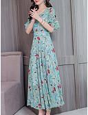 billige Kjoler med trykk-Dame Elegant Swing Kjole - Blomstret, Drapering Lapper Midi