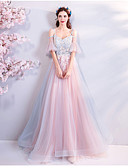 cheap Evening Dresses-A-Line Sweetheart Neckline Floor Length Tulle Dress with Appliques by LAN TING Express