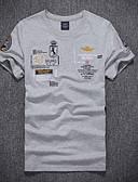 hesapli Erkek Tişörtleri ve Atletleri-Erkek Yuvarlak Yaka İnce - Tişört Grafik / Harf Beyaz