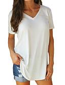 hesapli Tişört-Kadın's Pamuklu V Yaka Tişört Solid Büyük Bedenler Fuşya