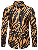 levne Pánské košile-Pánské - Proužky Košile, Tisk Bílá XL
