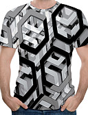 povoljno Ženski kaputi i baloneri-Veći konfekcijski brojevi Majica s rukavima Muškarci Pamuk Geometrijski oblici / 3D Okrugli izrez Print Sive boje