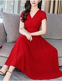 levne Dámské overaly-Dámské Větší velikosti Bavlna Swing Šaty - Jednobarevné Maxi / Do V