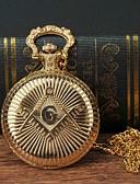baratos Relógio de Bolso-Homens Relógio de Bolso Quartzo Dourada Relógio Casual Mostrador Grande Analógico Fashion Relógios com Palavras - Dourado