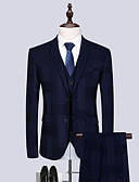 cheap Men's Tees & Tank Tops-Men's Suits, Solid Colored Notch Lapel Polyester Royal Blue US40 / UK40 / EU48 / US42 / UK42 / EU50 / US44 / UK44 / EU52