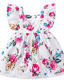 Χαμηλού Κόστους Βρεφικά φορέματα-Μωρό Κοριτσίστικα Ενεργό / Βασικό Φλοράλ Στάμπα Αμάνικο Βαμβάκι Φόρεμα Λευκό