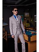 preiswerte Anzüge-Asche Gestreift Weite Passform Baumwolle / Polyester Anzug - Fallendes Revers Einreiher - 2 Knöpfe / Anzüge