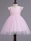 hesapli Elbiseler-Çocuklar Genç Kız sevimli Stil Kırk Yama Dantel Örümcek Ağı Kırk Yama Kısa Kollu Elbise Beyaz