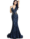 cheap Evening Dresses-Mermaid / Trumpet Plunging Neck Court Train Lace Dress with Beading / Sequin / Crystals by JUDY&JULIA