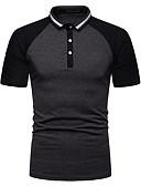 """זול חולצות פולו לגברים-אחיד עסקים האיחוד האירופי / ארה""""ב גודל Polo - בגדי ריקוד גברים אפור כהה / שרוולים קצרים"""